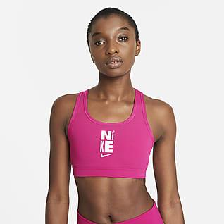 Nike Dri-FIT Swoosh Icon Clash Sujetador deportivo con tirantes sin almohadilla de sujeción media para mujer