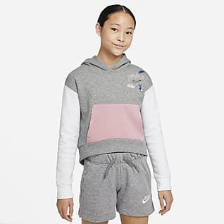 Nike Sportswear Club Fleece Sudadera con gorro sin cierre para niña talla grande