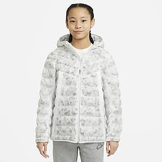 Nike Sportswear Vattenavvisande jacka med syntetfoder och marmortryck för äldre barn