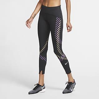 Nike Speed Damskie legginsy 7/8 do biegania ze średnim stanem i grafiką