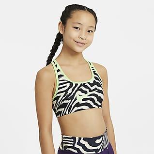 Nike Swoosh Dwustronny stanik sportowy z nadrukiem dla dużych dzieci (dziewcząt)