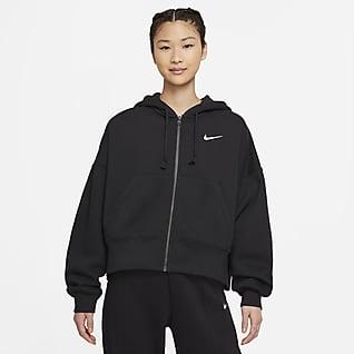 Nike Sportswear Essential Hosszú cipzáras, kapucnis, polár női pulóver