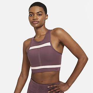 Nike Dri-FIT Swoosh Run Division Damski stanik sportowy z jednoczęściową wkładką o wydłużonym kroju zapewniający średnie wsparcie