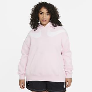 Nike Sportswear Swoosh Sudadera con gorro de tejido Fleece oversized para mujer talla grande
