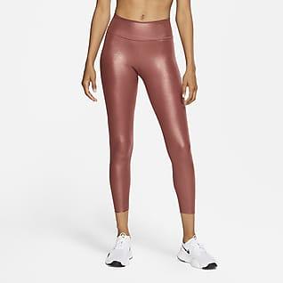Nike One Icon Clash Damskie błyszczące legginsy 7/8 ze średnim stanem