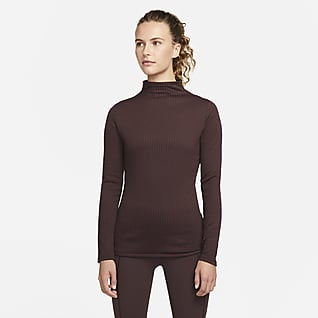 Nike Yoga Luxe Dri-FIT Γυναικεία μακρυμάνικη μπλούζα σε ριμπ ύφανση