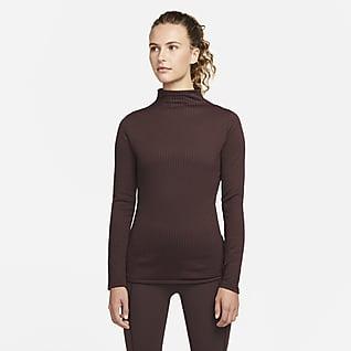 Nike Yoga Luxe Dri-FIT Geripptes Langarm-Oberteil für Damen
