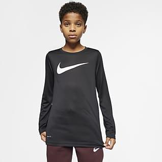 Nike Dri-FIT Playera de entrenamiento de manga larga para niño talla grande