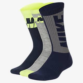 Nike Everyday Calcetines largos acolchados para niños talla grande (3 pares)