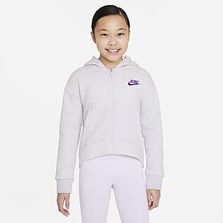 Nike Sportswear Club Fleece Sudadera con capucha de cierre completo para niña talla grande