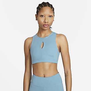 Nike Yoga Dri-FIT Swoosh Bra deportivo de cuello alto sin almohadilla de media sujeción para mujer
