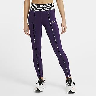 Nike One Leggings med mellemhøj talje og print til større børn (piger)