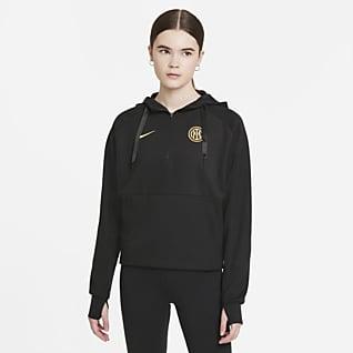 Inter Mailand Fußball-Hoodie mit Viertelreißverschluss für Damen