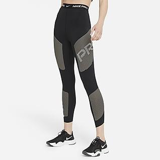 Nike Pro Dri-FIT Женские слегка укороченные леггинсы с высокой посадкой и графикой
