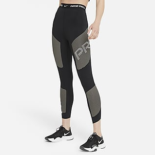 Nike Pro Dri-FIT Leggings con grafica a 7/8 a vita alta - Donna