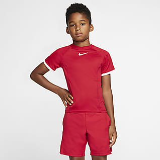 NikeCourt Dri-FIT Kortärmad tenniströja för ungdom (killar)