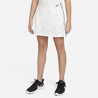 Nike Dri-FIT Falda de golf con estampado para niñas talla grande