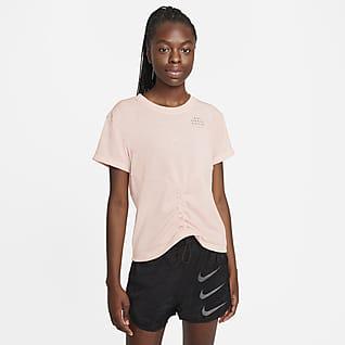 Nike Dri-FIT Run Division 女款打褶短袖跑步上衣