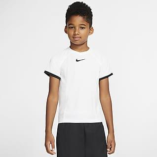 NikeCourt Dri-FIT Koszulka do tenisa z krótkim rękawem dla dużych dzieci (chłopców)