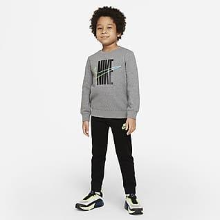 Nike Conjunto de pantalones y sudadera de cuello redondo para niños talla pequeña