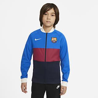 FC Barcelona Chamarra de entrenamiento de fútbol con cierre completo para niños talla grande