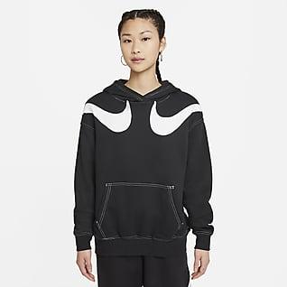 Nike Sportswear Swoosh เสื้อมีฮู้ดผ้าฟลีซโอเวอร์ไซส์ผู้หญิง