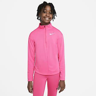 Nike Långärmad löpartröja med halv dragkedja för ungdom (tjejer)