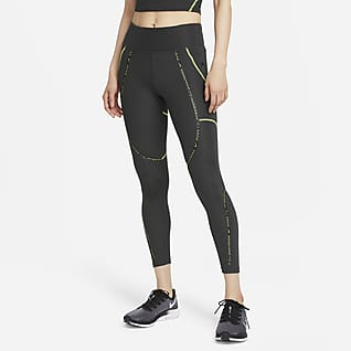 Nike Epic Faster เลกกิ้งวิ่งเอวปานกลาง 7/8 ส่วนติดแถบคาดผู้หญิง