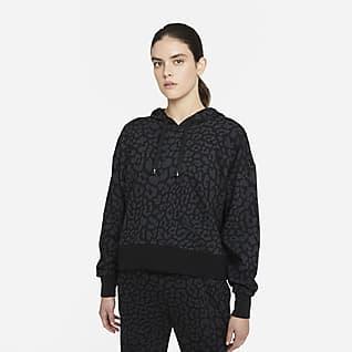 Nike Dri-FIT Get Fit Pullover-træningshættetrøje med print til kvinder