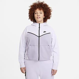 Nike Sportswear Tech Fleece Windrunner Tam Boy Fermuarlı Kadın Kapüşonlu Üst (Büyük Beden)