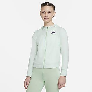 Nike Sportswear Sudadera con capucha de jersey de cierre completo para niña talla grande