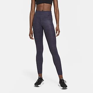 Nike One Luxe Dámské žíhané legíny se středně vysokým pasem