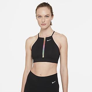 Nike Dri-FIT Indy Rainbow Ladder Sports-bh med høj hals, indlæg og let støtte til kvinder