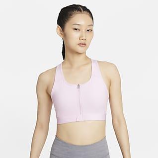 Nike Dri-FIT Swoosh Sujetador deportivo de sujeción media con almohadillas y cremallera delantera - Mujer