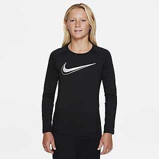 Nike Pro Dri-FIT Langermet T-skjorte til store barn (gutt)