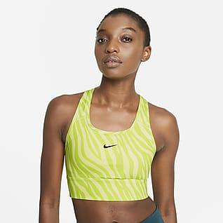 Nike Dri-FIT Swoosh Icon Clash Sujetador deportivo de línea larga con almohadilla de una sola pieza de sujeción media para mujer