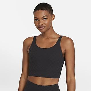 Nike Yoga Luxe Verkürztes Jacquard-Tanktop für Damen