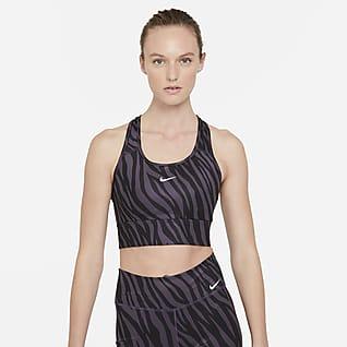 Nike Dri-FIT Swoosh Icon Clash Közepes tartást adó, hosszított női sportmelltartó egyrészes betéttel