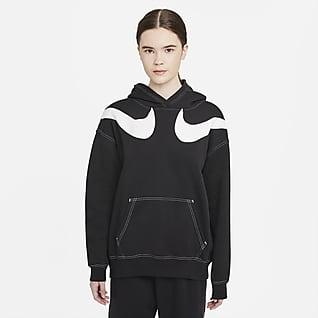 Nike Sportswear Swoosh Γυναικεία φλις μπλούζα με κουκούλα σε φαρδιά γραμμή