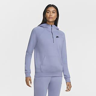 Nike Sportswear Essential Sudadera con capucha de cierre 1/4 para mujer
