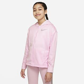 Nike Therma-FIT Big Kids' (Girls') Full-Zip Training Hoodie