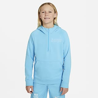 Nike Sportswear FC Barcelona Mikina s kapucí a polovičním zipem pro větší děti