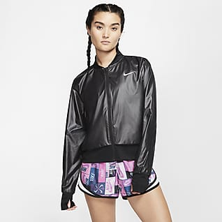 Nike Женская беговая куртка с молнией во всю длину