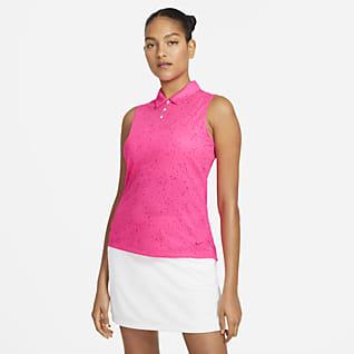 Nike Dri-FIT Γυναικεία αμάνικη εμπριμέ μπλούζα πόλο για γκολφ