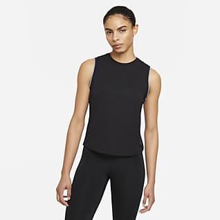 Nike Yoga Dámské tílko sháčkovaným okrajem