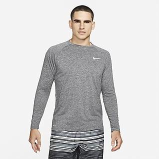 Nike Camiseta Hydroguard de natación de manga larga de tela jaspeada para hombre