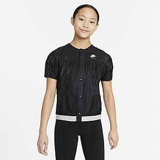 Nike Air Футболка из тканого материала с коротким рукавом для девочек школьного возраста