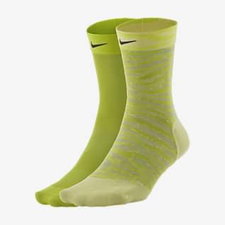 Nike Sheer Calcetines hasta el tobillo de entrenamiento para mujer (2 pares)