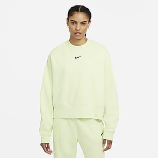 Nike Sportswear Collection Essentials Overdimensioneret fleece-crewtrøje til kvinder