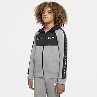 Kylian Mbappé Dessuadora amb caputxa i cremallera completa de teixit Fleece de futbol - Nen/a